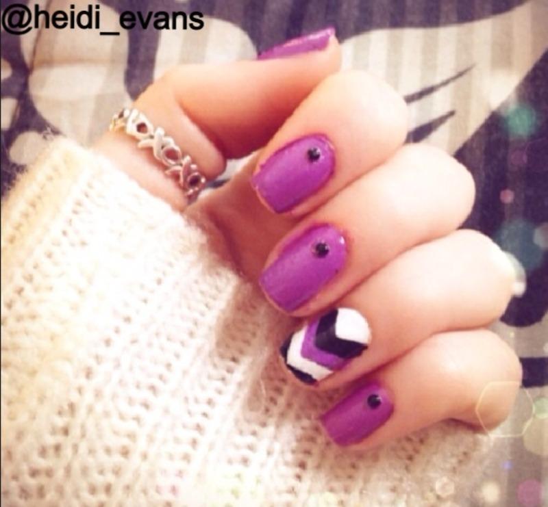 Chevron Purple nail art by Heidi  Evans