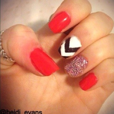 Pink and Chevron nail art by Heidi  Evans