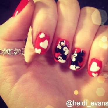 Minnie and Mickey Mouse nail art by Heidi  Evans