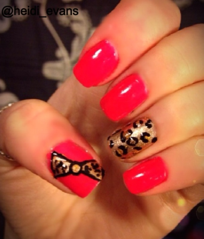 Cheetah Bow nail art by Heidi  Evans