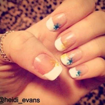 French Tip Snow Flakes nail art by Heidi  Evans