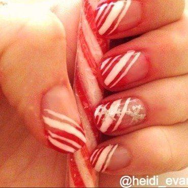 Candy Canes nail art by Heidi  Evans
