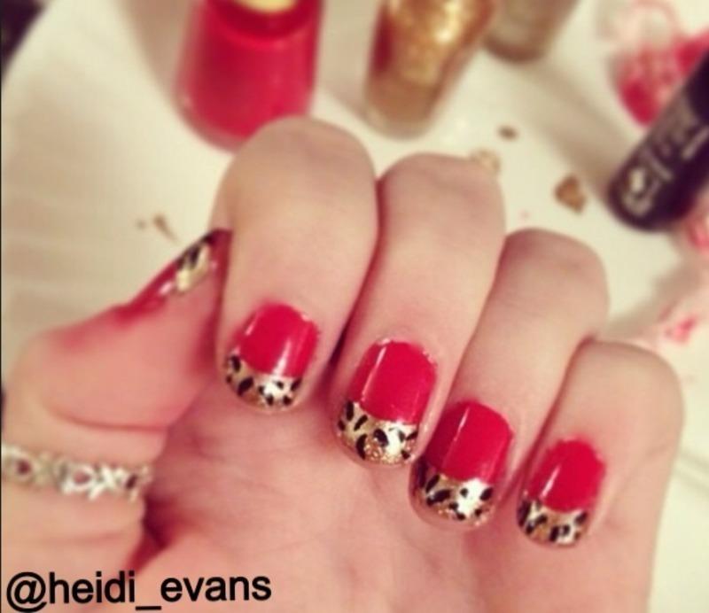 French Tip Cheetah nail art by Heidi  Evans