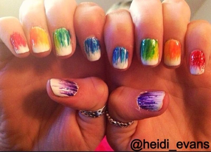 Rainbows nail art by Heidi  Evans