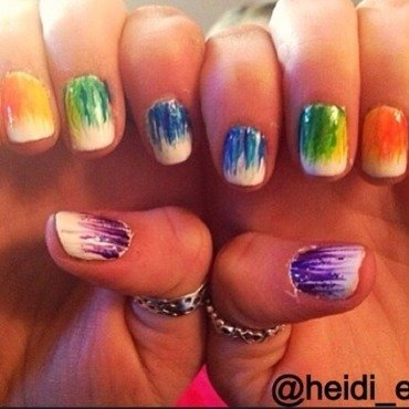 Rainbows nail art by Heidi  Evans