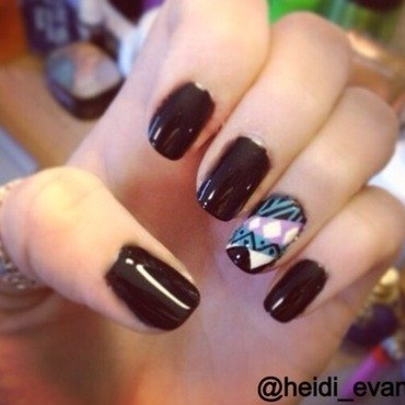 Black Tribal nail art by Heidi  Evans