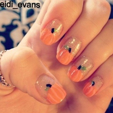 Pumpkin Tips nail art by Heidi  Evans