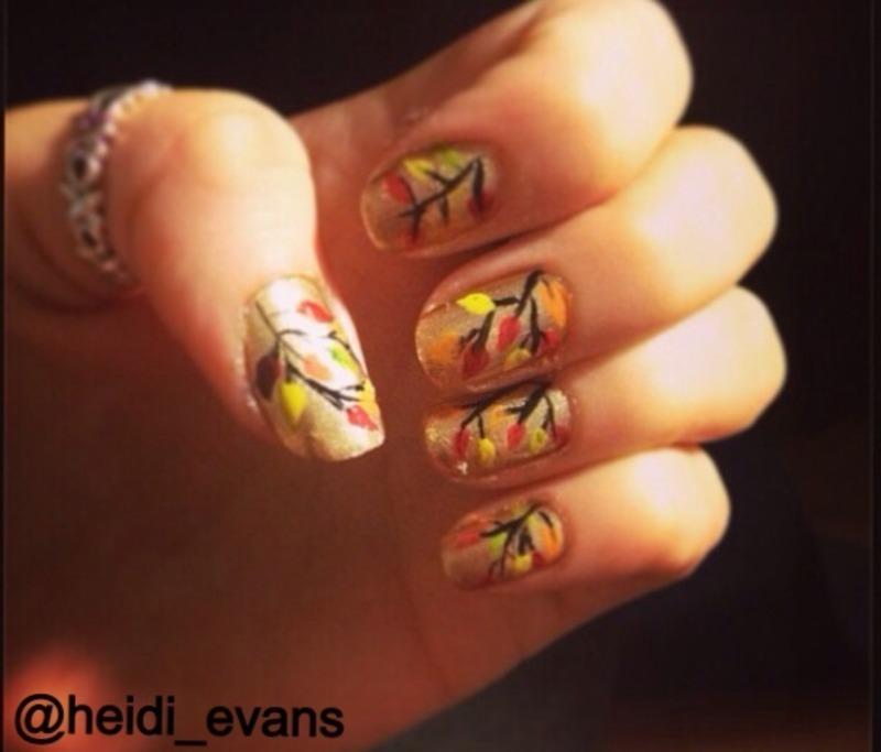 Autumn Leaves nail art by Heidi  Evans