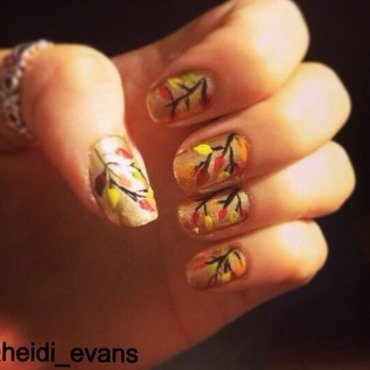 Autumn Leaves nail art by Heidi  Evans