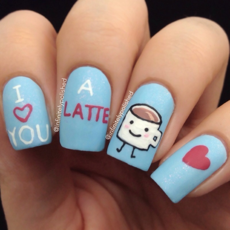 I Love You A Latte Valentines Day Nails Nail Art By Infinitely Polished Nailpolis Museum Of