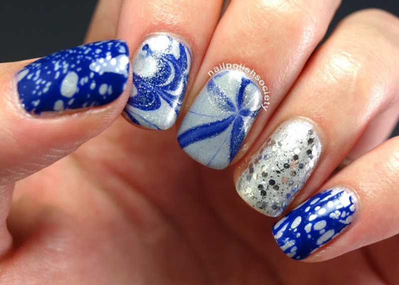 Blue and Silver Water Marble Medley nail art by Emiline Harris