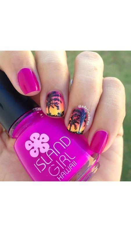 Hawaiian sunset nail art by Adelis Lebron
