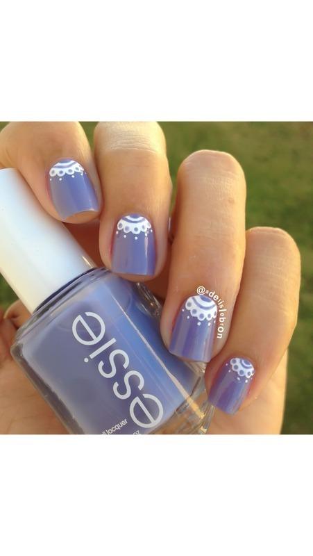 Lace half moon nails nail art by Adelis Lebron