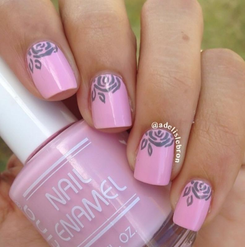 Roses half moon nails nail art by Adelis Lebron