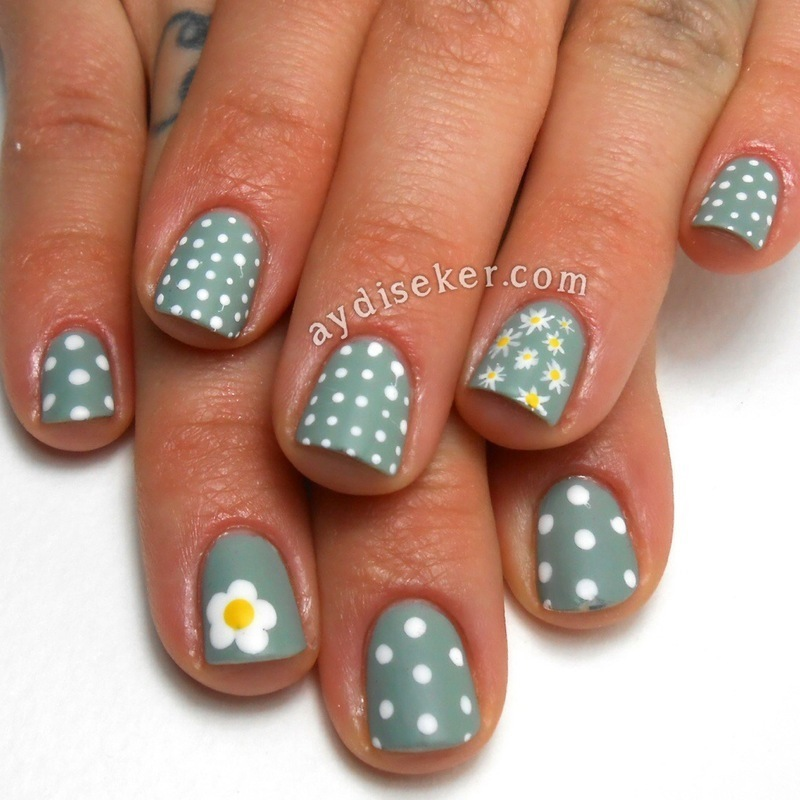 Daisies and Polka Dots nail art by Aydi Seker