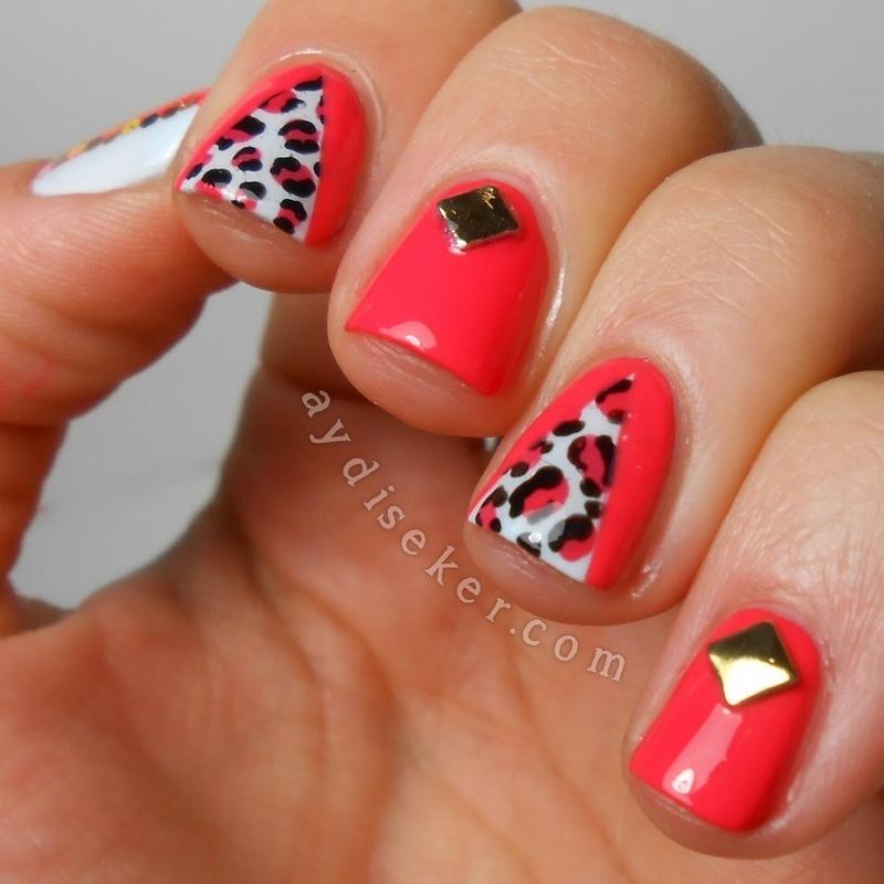 Bright Leopard Print nail art by Aydi Seker