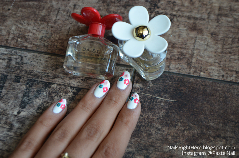 Marc Jacobs Daisy Nails nail art by Rupali Bahl
