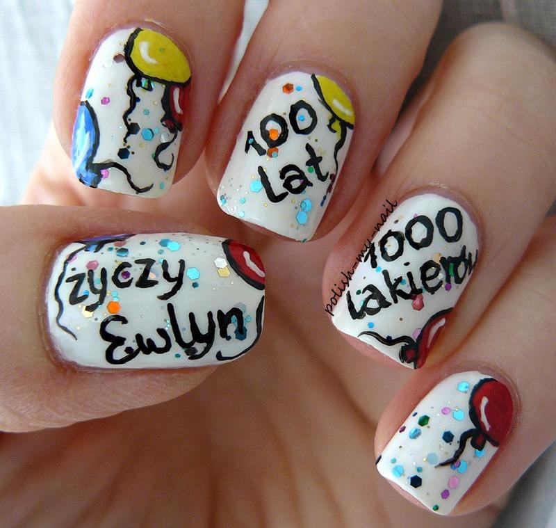 Birthday wishes nail art by Ewlyn