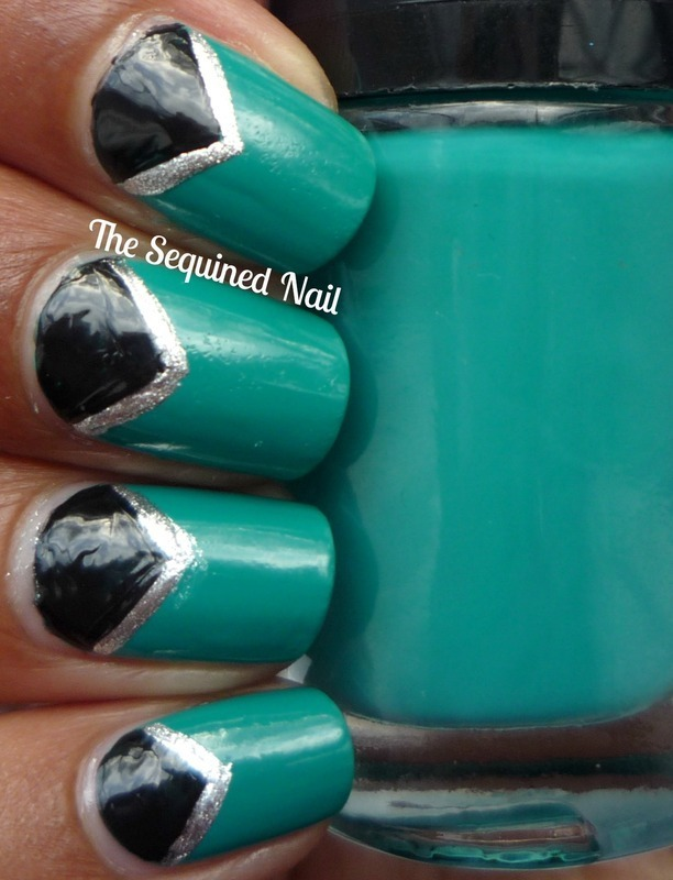 Triangle Half Moons nail art by TheSequinedNail