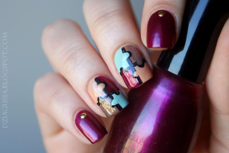 Puzzle nail art by Magda