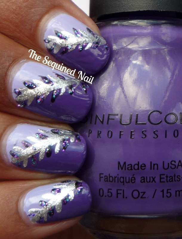 Purple Feathers nail art by TheSequinedNail