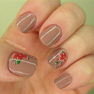 Flowers on nude nail art by Agni