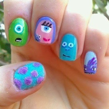 Monsters Inc nail art by GepeNails