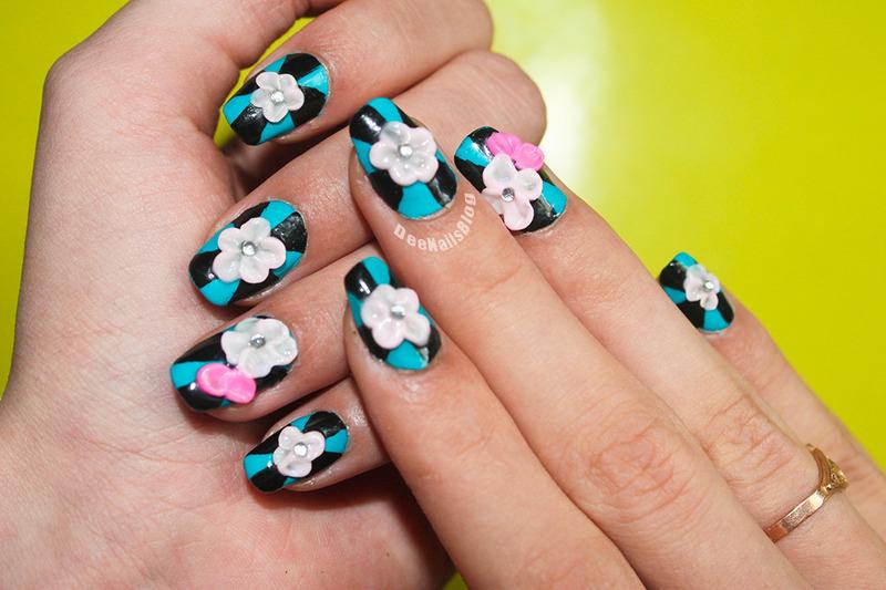 3D spring design nail art by Diana Livesay