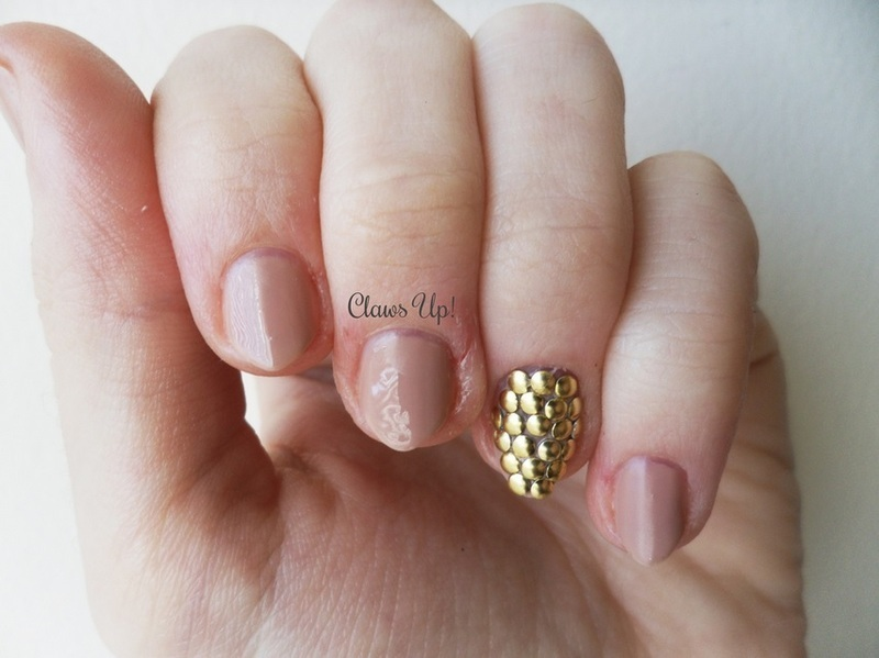 Nude nails and gold studs nail art by jacquie nailpolis museum nude nails and gold studs nail art by jacquie prinsesfo Choice Image