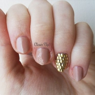 Nude Nails and Gold Studs nail art by Jacquie