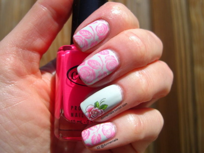 Pastel Roses nail art by Donner