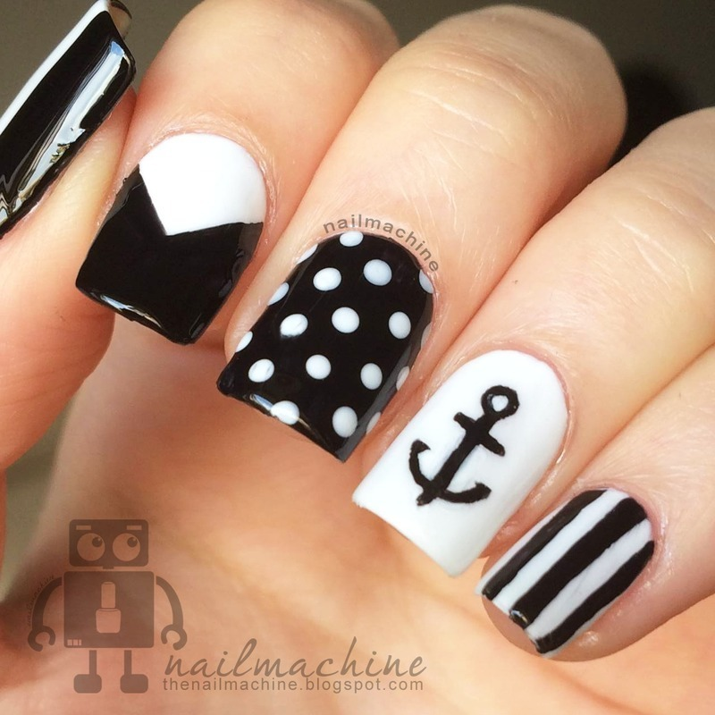 Black & White nail art by Kimberlyn