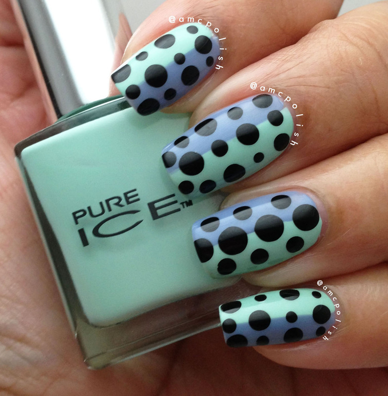 Two Toned Dotticure nail art by Amber Connor