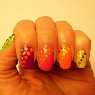 Neon Dots nail art by Angelique Adams