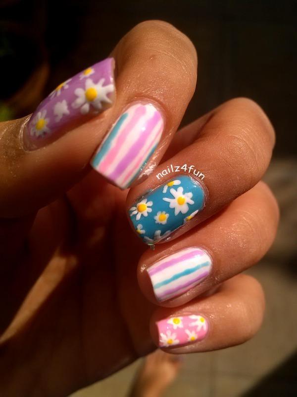 Mix 'n' Match Spring flowers nail art by Nailz4fun