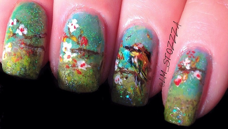 Spring bells nail art by Louise