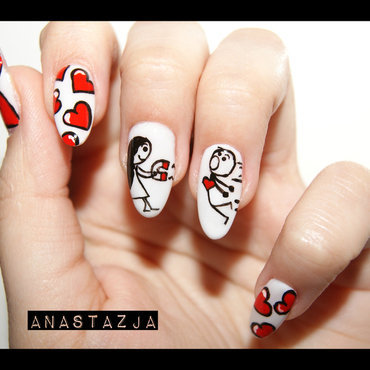 Magnetic love nail art by Anastazja