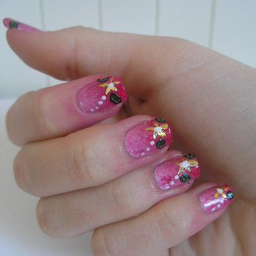 Gold flower nail art by Addicted With Nails