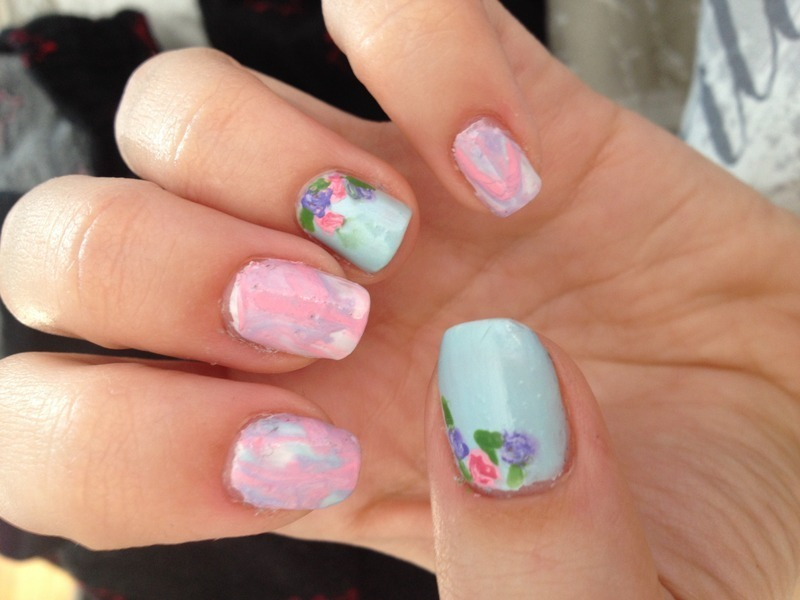 Water Marble and flowers nail art by Amanda  Jade