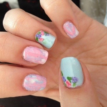 Water Marble and flowers nail art by Amanda  Jade