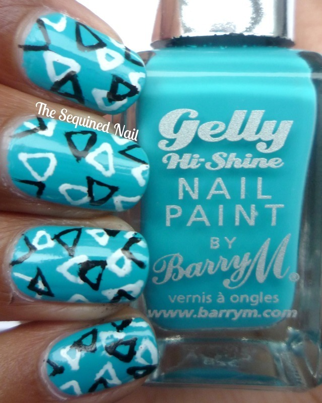 Geometric Triangles nail art by TheSequinedNail