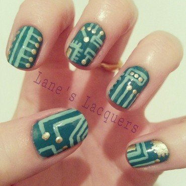 Fingerfood theme buffet lines and dots circuit board manicure thumb370f