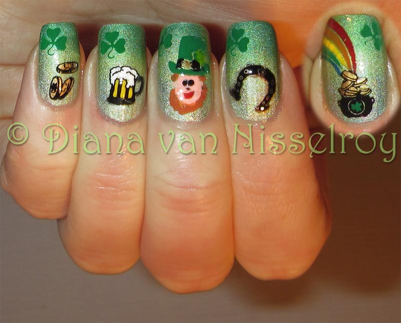 St. Patricks Day nail art by Diana van Nisselroy