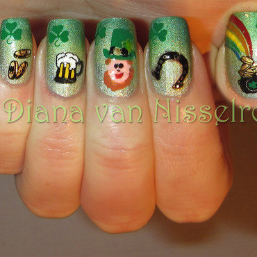 St. Patricks Day nail art by Diana van Nisselroy