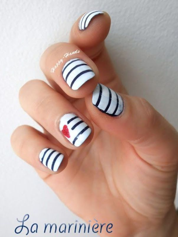 La Marinière nail art by Sarah Anaïs