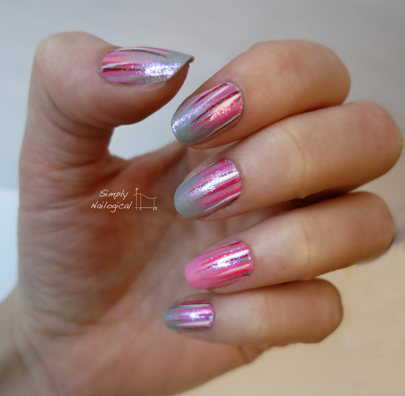 Valentine's day waterfall mani nail art by simplynailogical