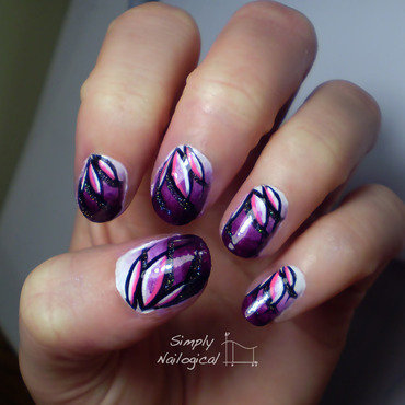 Looping effect purple lotus flowers nail art by simplynailogical