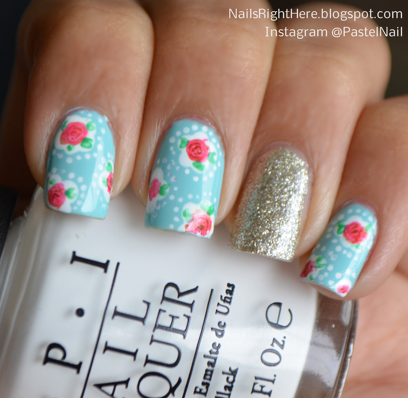 Floral Nails inspired by Cath Kidston nail art by Rupali Bahl