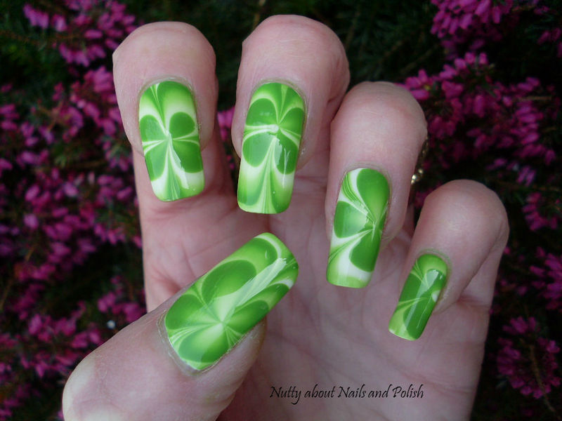 St Patricks Day Water Marble nail art by Tracey - Bite no more