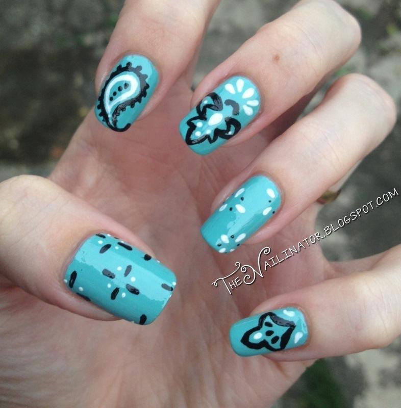 Free-Handed Bandana nail art by Rachael Robinstein